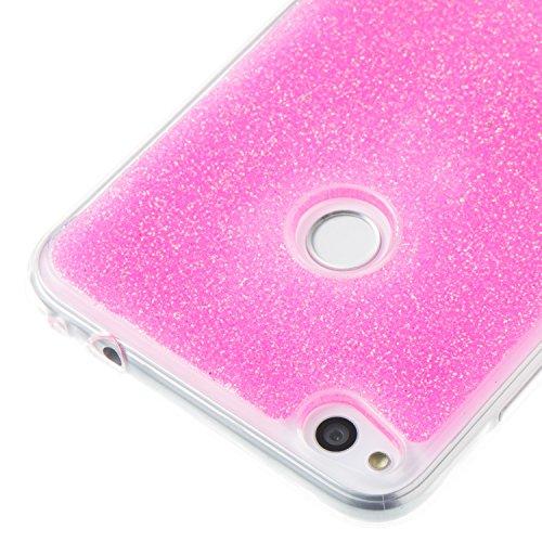Hülle für Huawei P8 Lite 2017 ,TPU Silikon Backcover Case Handy Schutzhülle für Huawei P8 Lite 2017, Cozy Hut® Huawei P8 Lite 2017 Hülle Handyhülle, Glitzer Slim Soft-Case Back-Cover Schutzhülle, Handy-Tasche im Glitter Sparkle Design, Dünnes Bling Strass Etui Skin für Huawei P8 Lite 2017 - Rosa
