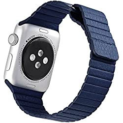 iwatch H421Leather Strap Lychee Blue