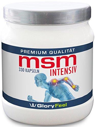 MSM Kapseln Intensiv 1.600 mg - 330 Hochdosierte Kapseln Reiner Organischer Schwefel + Vitamin C und Selen - 330 Stück - Nahrungsergänzung von GloryFeel