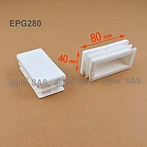 ajile - 4 pièces - Embout à lamelles rectangulaire pour tubes 80 x 40 mm - BLANC - EPG280-M