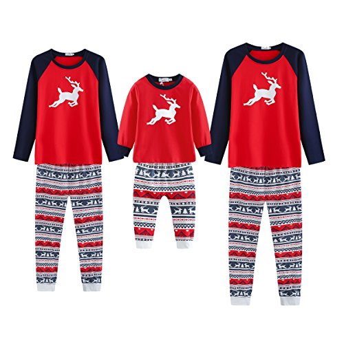 Yalatan Weihnachten Familie Pyjamas Set, Deer Gedruckt Nachtwäsche Nachtwäsche Homewear für Kinder Mama Dad (EU S/Tag Asian M, Mom) (Familie Pyjama-sets Weihnachten)