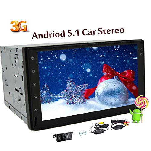 Wireless-Backup-Kamera inklusive 7-Zoll neue Android 5.1 OS-Autoradio Doppel-DIN-Quad-Core-Bluetooth Wifi 3G 4G Auto-Stereo-Touch Screen GPS-Navigation 1080P Video Audio Medien Keine DVD-Player in der Schlag FM / AM Radio Receiver Head Unit + Free 3G Dongle