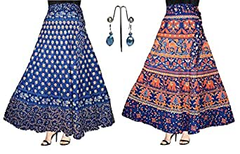 ESHOPITUDE 3PCS COMBO JAIPURI COTTON WRAP AROUND SKIRTS WITH BEAUTIFUL EARRING