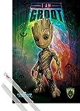1art1 Poster + Hanger: Guardians of The Galaxy Poster (91x61 cm) Vol. 2, Ich Bin Groot Inklusive EIN Paar Posterleisten, Transparent