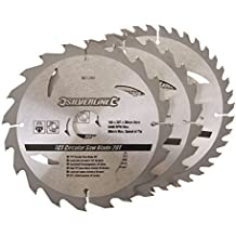 Silverline 801292 - Discos de TCT para sierra circular 20, 24, 40 dientes, 3 pzas (184 x 30 - anillos de 20 y 16 mm)