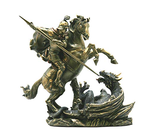Unbekannt St. George Killing The Dragon Römischer Soldat Statue Figur Bronze Finish