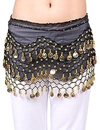 VENI MASEE® Profesional Danza del Vientre cadera Toalla/Wrap/Cinturón, 3filas de oro color monedas, colores NoProblem (-