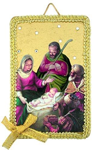 Die Geburt Jesus Christus Icon 10,2cm Ornament Oder Wandschild mit Textil Bordüre