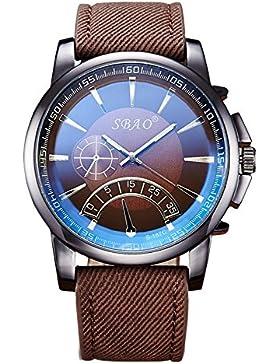Lässig Canvas Uhrarmband Dekorative Kleine Zifferblätter Quarz Armbanduhr Herren,Dunkelbraun