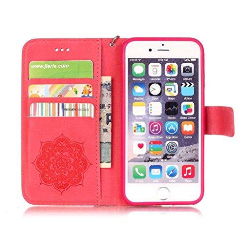Kkeiko, custodia per iPhone 6/iPhone 6s, custodia a portafoglio, con strass, con copertina in pelle e custodia bumper con protezione schermo in vetro temperato