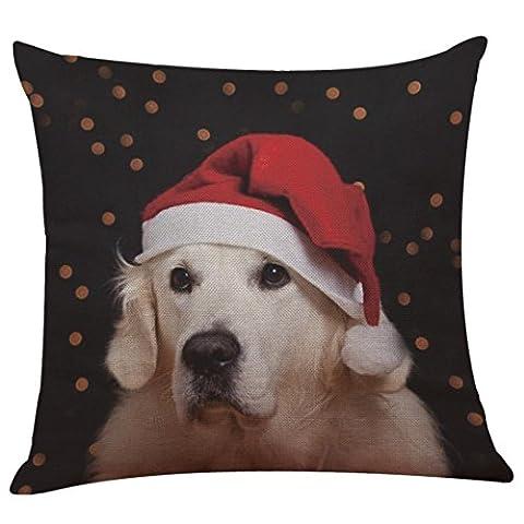 Haustier Patterns Kissenbezug Neue Weihnachtsdekoration Baumwoll Leinen Kissenbezug Sofa Kissenbezug Home Decor (Wie Begann Weihnachten)