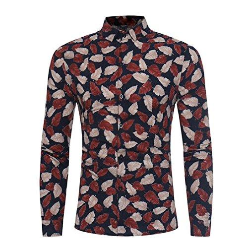 ITISME TOPS Männer Mode Blumendruck Taste Langarm Grundlegende T-Shirt Bluse ()