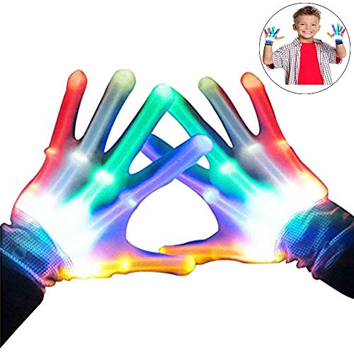 LED blinkende bunte Finger Gloves, Coole Spielzeuge Handschuhe mit LED, lustige Handschuhe als Geschenke zu Weihnachten Geburtstag und Karneval für Kinder Mädchen Junge - Beste Geschenke