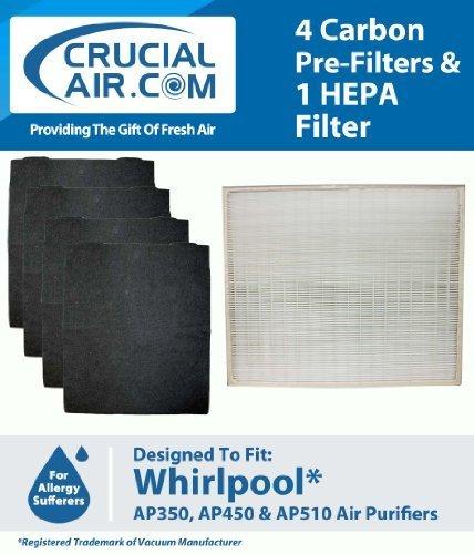 Crucial Air HEPA Filter Luftreiniger &4 Filzstifte neutralisiert Pre Carbon Filter, passend für Whirlpool Whispure Luftreiniger AP350, AP450, AP510 &AP51030K, vergleichen Sie die Teilenummern #8171434 K, 1183054, 1183054 1183054 K K, groß, 1183054 K Grand Format, entworfen von Crucial