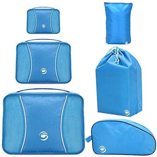 Bolsas de Equipaje, 6 Set Organizador de Maleta Bolsa, Bolsas de Viaje con Bolsa de Ropa, Bolsa de Cosméticos, Bolsa de Lavandería para Familia al Aire Libre Viajando, Camping, Senderismo (Azul)