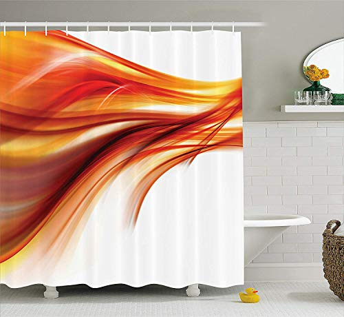 BUZRL Orange Shower Curtain Set Abstract Home Decor, Modern Contemporary Abstract Smooth Lines Blurred Art Print, Bathroom Accessories, with Hooks, 66x72 inches, Dark Red Orange