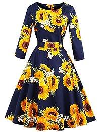 188b12a939 Ibaste Vestido Rockabilly 3 4 Clásico De Vestido Vestido Brazo Oscilante  Vestido Chicos Elegante Audrey Hepburn