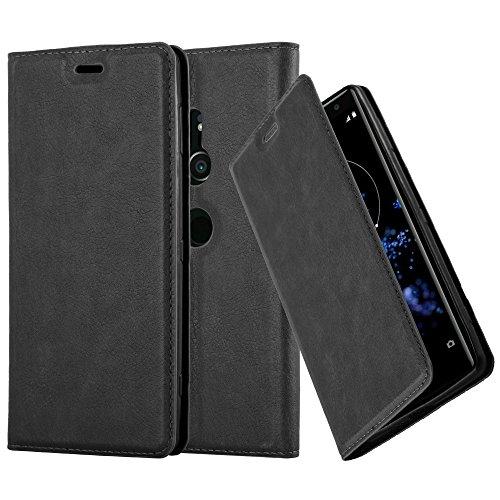 Cadorabo Hülle für Sony Xperia XZ2 - Hülle in Nacht SCHWARZ - Handyhülle mit Magnetverschluss, Standfunktion & Kartenfach - Case Cover Schutzhülle Etui Tasche Book Klapp Style