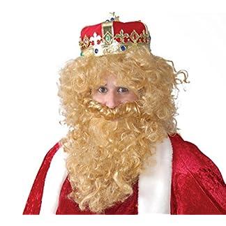 Parrucca e barba bionda per travestimento re sovrano magio