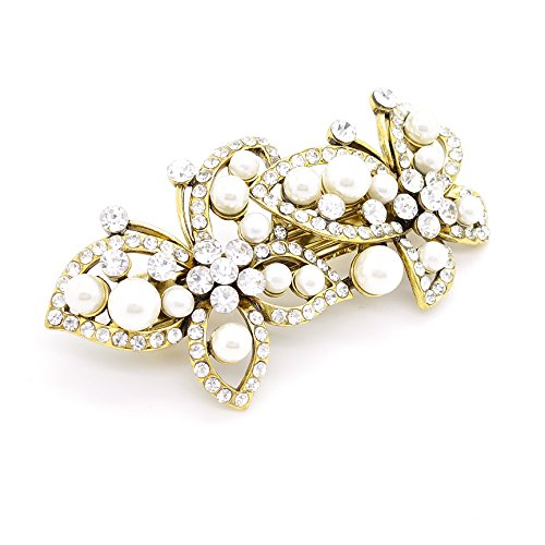 Vintage Style Antique/Cristal Diamante & Imitation Perle Double Barrette à cheveux Design Papillon