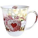 Ambiente - Luxury Paper Products Porzellan Becher Becher - Mug - Tasse - Tee/Kaffee Becher ca. 0,4L Christmas - Heart On Apple - Herz auf Apfel - Weihnachten - Ideal Als Geschenk