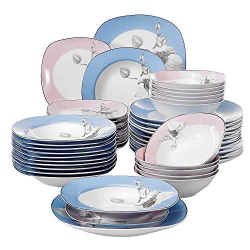 Veweet DEBBIE 48pcs Service de Table Pocelaine 12pcs Assiettes Plates 24,6cm, Assiette Creuse 21,5cm, Assiette à Dessert 19cm, Bols à Céréales 17cm Vaisselles pour 12 Personnes Fleuri