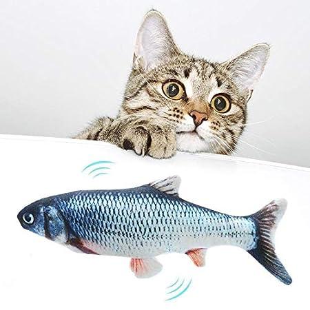 Womdee Elektrische Fische Katze, USB Elektrische Plüsch Fisch Kicker Katzenspielzeug mit Katzenminze für Katze und Kätzchen, Interaktive Katzenspielzeug zu Spielen, Beißen, Kauen und Treten