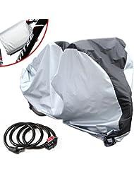 pamase–Paño de poliéster 190T resistente al polvo portátil funda impermeable para bicicleta cubierta de la lluvia con libre bicicleta bloqueo al aire libre y para bicicleta de montaña, plata