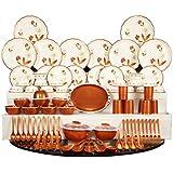 Joyo Plastic Dinner Set, 84-Pieces, Brown
