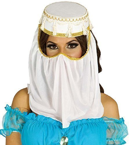 Arabischer Kopfschmuck Kopf Gesicht Hülle Genie Bauchtänzerin Kostüm Kleid Outfit Hut Zubehör - Weiß, Weiß, One size (Genie Bauchtänzerin Kostüme)