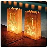 Ecooe 10 Stk. Lichtertüten für Teelichter Kerzen Alles Gute zum Geburtstag Candle Bags für Birthday Party weiß