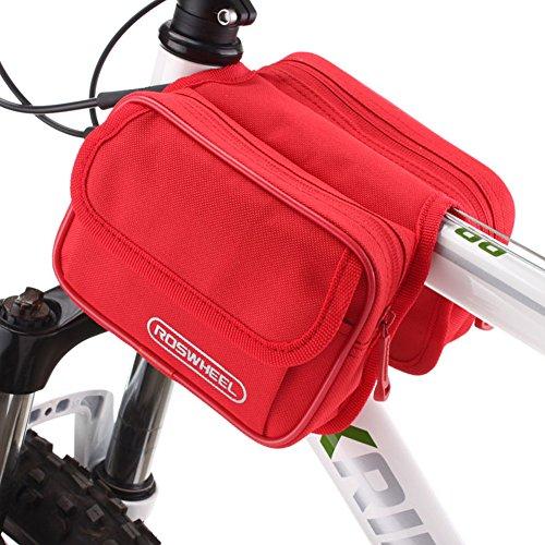 Outdoor peak Unisex Polyester Wasserabweisende Fahrradtasche & Handyhalterung BTR-Gepäckträgertasche Rahmentasche Kopf Schlauchbeutel Handytasche Radfahren(Rot)