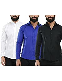 [Sponsored]Combo Of Three Stylish Shirts For Men By Mark Pollo London(White,Blue,Black)