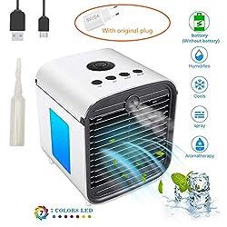 Portable Air Cooler Mini Mobile Klimaanlage Luftkühler, 3 in 1 Luftbefeuchter und Luftreiniger, Tragbare Klimaanlage Luftkühler für Büro,Leakproof, New Filter (Weiß)