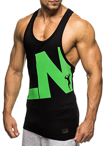 Grün Training Top T-shirt (LEIF NELSON Gym Herren Stringer T-Shirt für Sport Fitness ohne Ärmel | Männer Bodybuilder Trainingsshirt Top ärmellos | Sportshirt - Bekleidung für Bodybuilding Training | LN20150496 Schwarz-Grün Large)