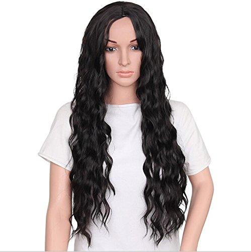 Natürliche synthetische lange gewellte Perücken natürliche schwarze Farbe lose lockige Perücken hitzebeständige Faser für schwarze Frauen Party ()