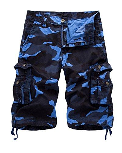 Uomo cargo pantaloncini vintage stile militare corti bermuda short con tasconi laterali azzurro 36