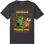 Minecraft Camiseta Niño, Ropa Niño Algodon 100%, Camisetas para Gamers en Negro y Gris, Regalos para Niños y A