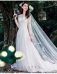 abc0b25a9445 WJZ Bianco Sposa Abito da Sposa Trailing Principessa Sogno Manica Lunga  Parola Spalla Luce Matrimonio Sen