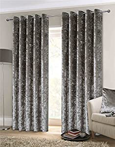 "Luxury Thick Crushed Velvet Silver Lined Ring Top Woven Curtains 90"" X 108"" by Curtains"