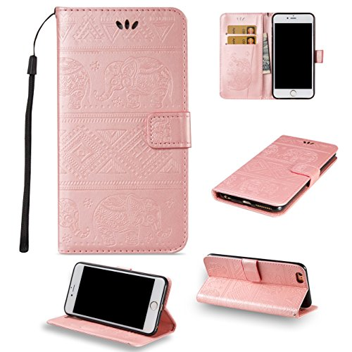 EKINHUI Case Cover Für Apple IPhone 7 Plus Premium Leder Schutzhülle, weiche PU / TPU geprägte Textur Horizontale Flip Stand Brieftasche Case Cover mit Lanyard & Card Cash Holder ( Color : Red ) Pink