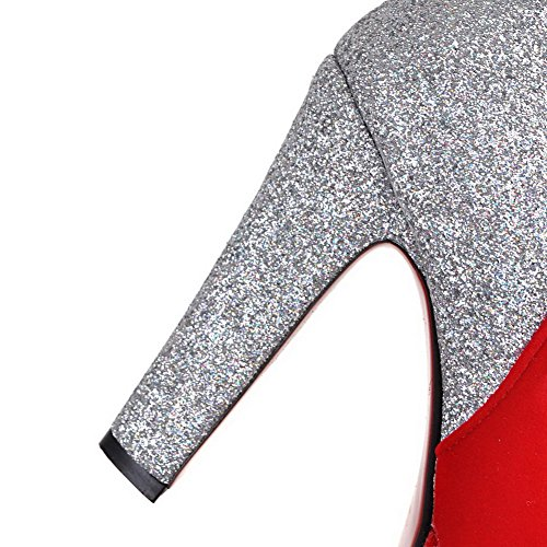 AllhqFashion Damen Gemischte Farbe Hoher Absatz Rund Zehe Stiefel mit Paillette Rot