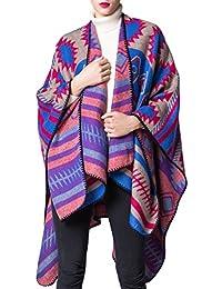 Mochoose Poncho et Cape Tricot Châle Plaid Écharpe Couverture Wrap Tartan Chaude  Hiver pour Femme a9d814c53cc