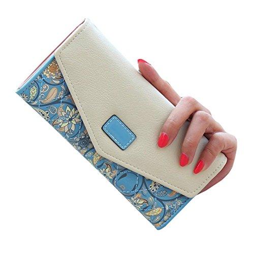Zip Leder Card Holder Handy Umschlag PU blau Frauen Handtasche Lange Wallet Geldbeutel D9Q qSCvTExR
