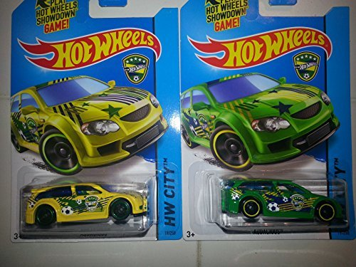Hot Wheels World Cup Soccer Audacious Cars!! 2 Different: Yellow And Green (Brazil)!![Ships In A Box]