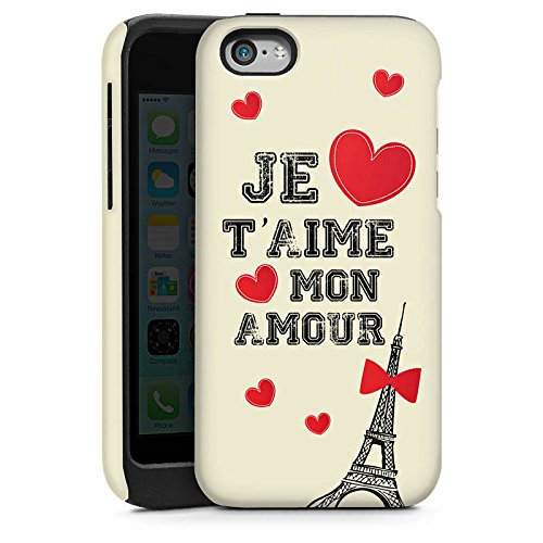 Apple iPhone 5s Housse Étui Protection Coque C½ur Phrase Mon Amour Cas Tough brillant
