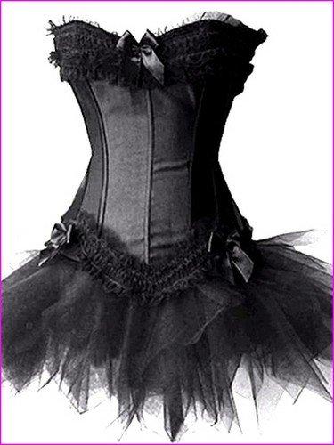 n Lolita-Kostüm - Korsett & Tutu - Burlesque - Schwarz - Größe 38 (Kostüm Burlesque Cabaret)