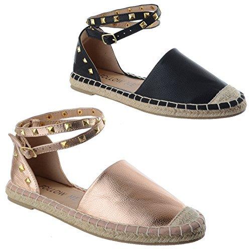 femmes talons bas pour femmes Espadrilles émaillé bride cheville été POMPES chaussures taille