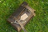 Borsa quadrata per sella/manubrio, classica, in vera pelle marrone, vintage, borsa da moto, ciclomotore, motocicletta
