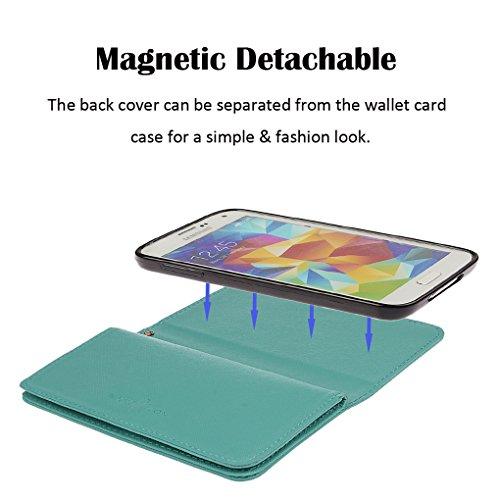 Hülle für Samsung S5, xhorizon FX Prämie Leder Folio Case [Brieftasche][Magnetisch abnehmbar] Uhrarmband Geldbeutel Flip Vogel Tasche Hülle für Samsung Galaxy S5 i9600 mit einer Auto Einfassungs Halte Marineblau